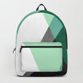 Green Geometric Print Backpack