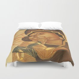 Orthodox Icon of Virgin Mary and Baby Jesus Duvet Cover