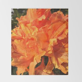 Orange Azaleas Throw Blanket