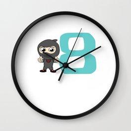 Birthday Ninja Party 8th Samurai Ninjas Gift Japanese Ninja stars Fighter Gift Wall Clock