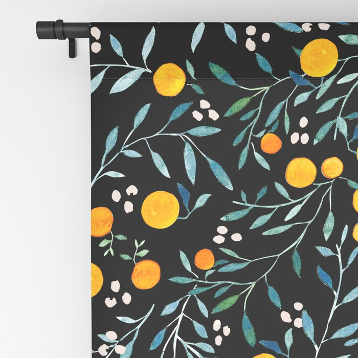 Oranges Black Blackout Curtain