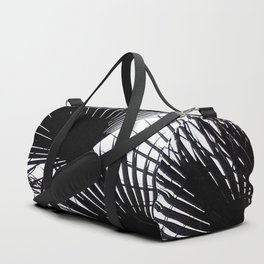 Black and White Tropical Leaves Duffle Bag