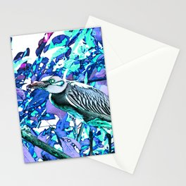 Crowned night heron blue and purple Stationery Cards