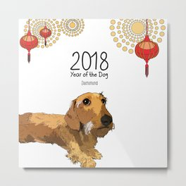 Year of the Dog - Dachshund Metal Print