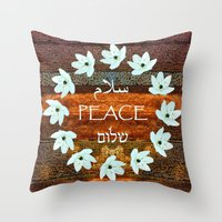 palestine Throw Pillows featuring Circle of Stars by Khana's Web