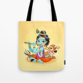 Baby Krishna with sacred cow Tote Bag