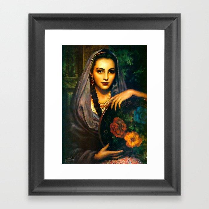 Jesus Helguera Painting of a Calendar Girl with Dark Shawl Gerahmter Kunstdruck