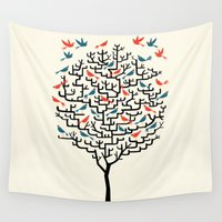 tree Wall Tapestries featuring Out On a Lark by Oliver Lake