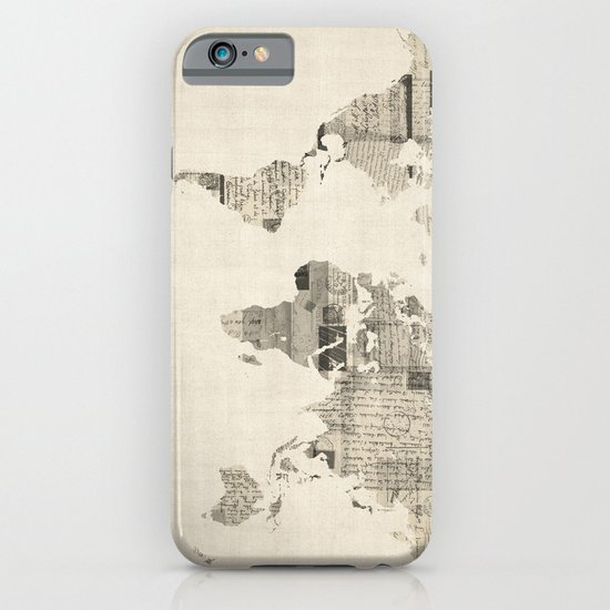 Map of the World Map from Old Postcards iPhone & iPod Case