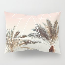 Modern tropical palm tree sunset pink blue beach photography white geometric triangles Pillow Sham