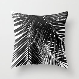 Tropical Vibes   Black and White Throw Pillow