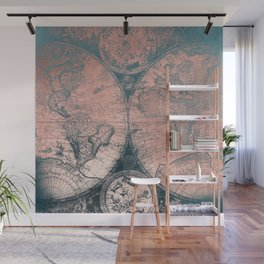 Vintage World Map Rose Gold and Storm Gray Navy Wall Mural