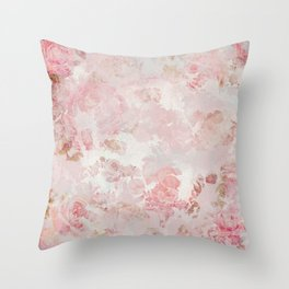 Vintage Floral Rose Roses painterly pattern in pink Throw Pillow