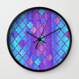 Moroccan Tile Pattern In Purple And Aqua Blue Wall Clock