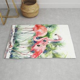 Flamingo Flamingos and Papyrus, flamingo lover pink green art Rug
