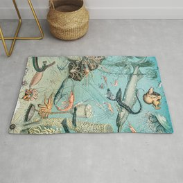 Underwater Creature Diagram // Ocean II by Adolphe Millot XL 19th Century Science Artwork Rug