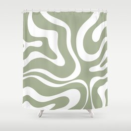 Modern Retro Liquid Swirl Abstract Pattern in Muted Sage Green and White Shower Curtain