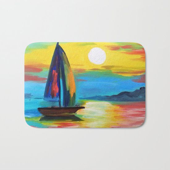 Sailboat at dawn Bath Mat