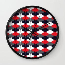 Manta Ray Pattern (Blue and Red) Wall Clock