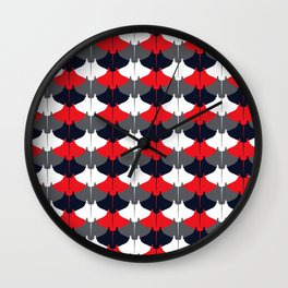 Manta Ray Pattern (Blue and Red) Wall Clock