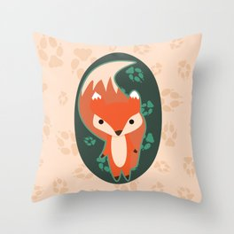 Fox with Paw Prints Throw Pillow