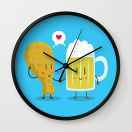 Fried Chicken + Beer = Love Wall Clock