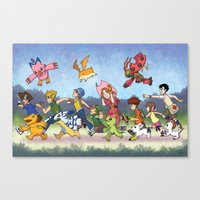 digimon Canvas Prints featuring Hey Digimon! by Crystal Kan