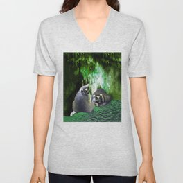 Lemurs on the Emerald Green Knolls Unisex V-Neck