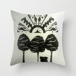 Sun Rising and Rabbit Gazing Upwards Throw Pillow