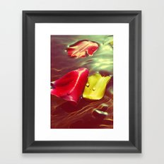 Lomo Vintage Flower Petals on Water Framed Art Print