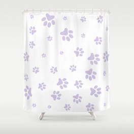 Lilac Pet paw pattern Shower Curtain