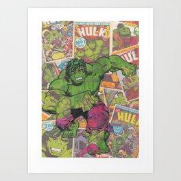 The Hulk Vintage Comic Art Art Print