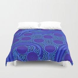 The Rivers around Us (blue) - Authentic Aboriginal Art Duvet Cover