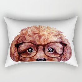 Toy poodle reddish brown with glasses Rectangular Pillow
