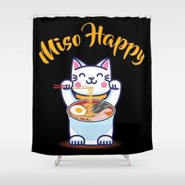 Miso Happy Funny Japanese Anime Cat Manga Gift Shower Curtain