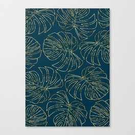 Metallic Monstera Leaves Canvas Print