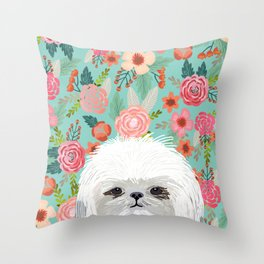 Shih Tsu floral dog portrait cute art gifts for dog breed lovers Throw Pillow