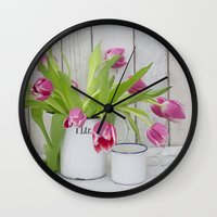 tulips Wall Clocks featuring Tulips by LebensART Photography