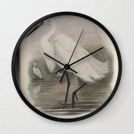 226 Herodias garzetta. Little Egret Wall Clock