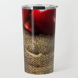 Burlap sack with apples on a wooden table Travel Mug