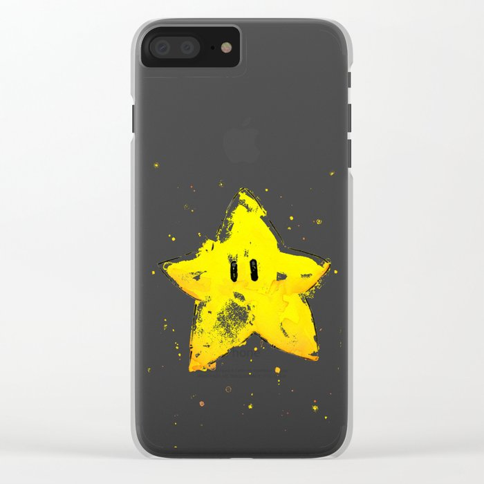 Invincibility Star Mario Watercolor Geek Gamer Art Clear iPhone Case