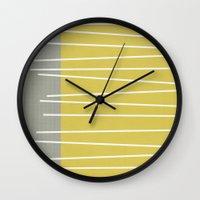 mid century modern Wall Clocks featuring MId century modern textured stripes by Michelle Drew