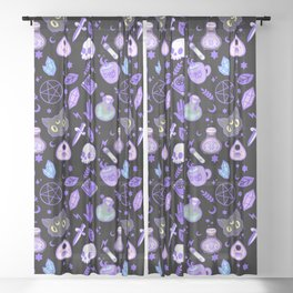 cute witch pattern black Sheer Curtain