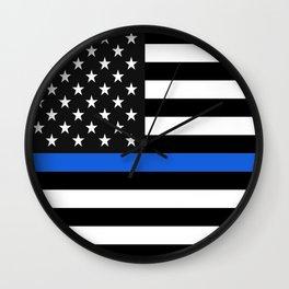 Thin Blue Line American Flag Wall Clock