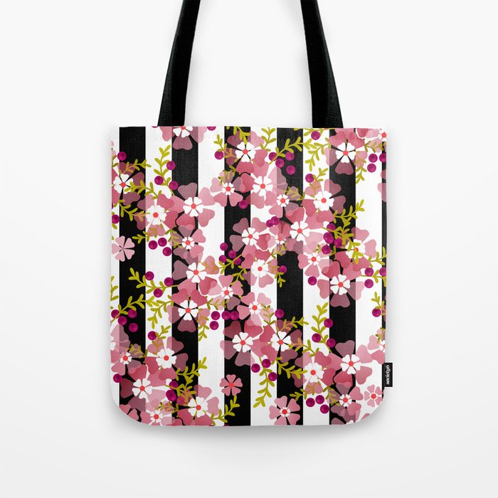 Floral Pattern Black And White Striped Background Tote Bag By