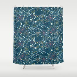 There are fireworks everywhere (blue) Shower Curtain