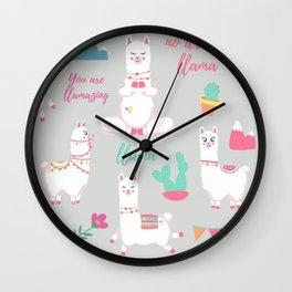 Cute Llamas Alpacas Colorful Spring Flowers Wall Clock