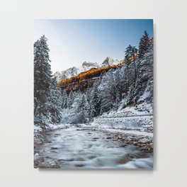 Autumn and winter river, forest and mountains Metal Print
