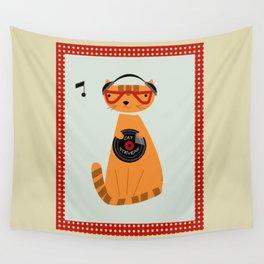 the cat loves good music Wall Tapestry