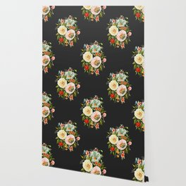 Wildflower and Butterflies Bouquet on Charcoal Black Wallpaper